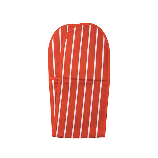Dexam Rushbrookes Classic Butchers Stripe Double Oven Glove Red