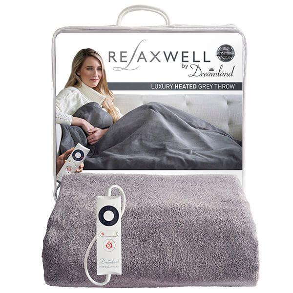 Relaxwell By Dreamland Luxury Heated Grey Throw