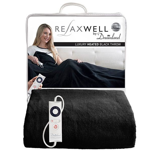 Relaxwell By Dreamland Luxury Heated Black Throw
