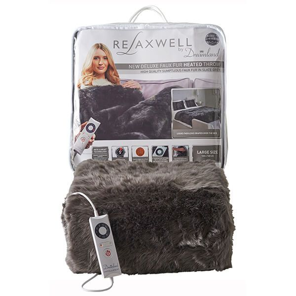 Relaxwell By Dreamland Luxury Grey Slate Superior Faux Fur Heated Throw