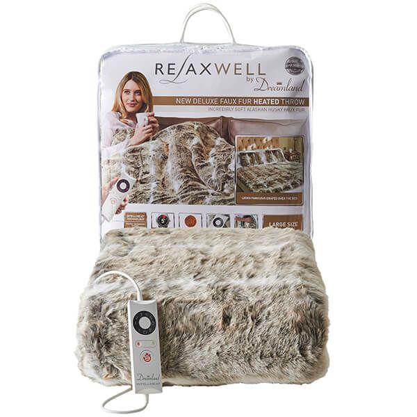 Relaxwell By Dreamland Luxury Alaskan Husky Heated Throw