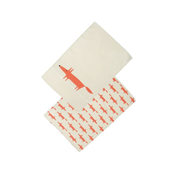 Scion Living Mr Fox Set Of 2 Tea Towels Stone