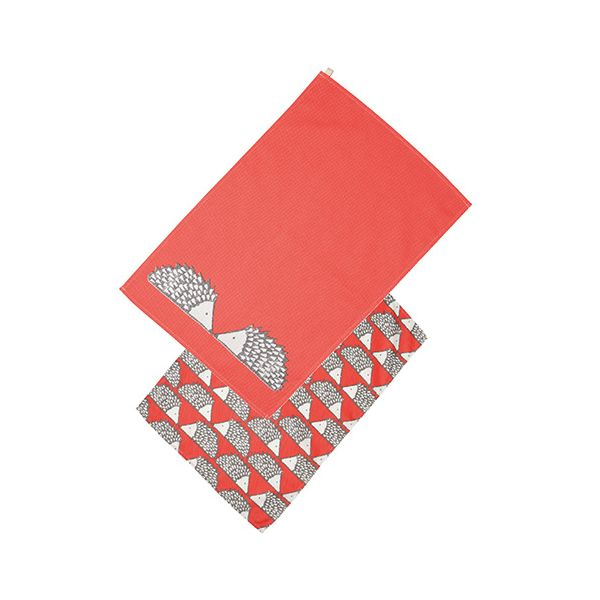 Scion Living Spike Set Of 2 Tea Towels Red