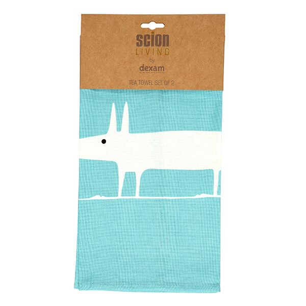Scion Living Mr Fox Teal Set Of 2 Tea Towels
