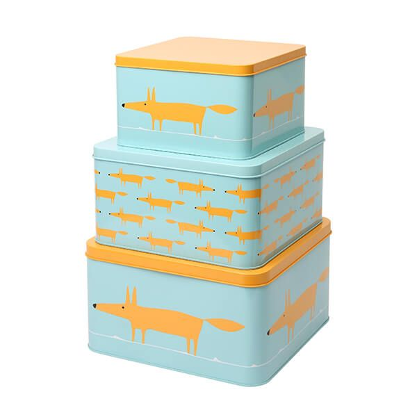 Scion Living Mr Fox Set of 3 Square Cake Tins Blue