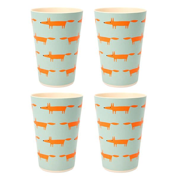 Scion Living Mr Fox Bamboo Set of 4 350ml Tumblers Blue