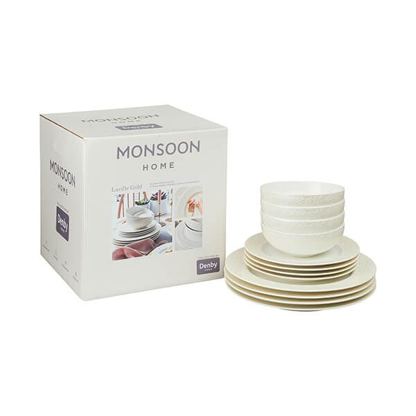 Denby Monsoon Lucille Gold 12 Piece Tableware Set