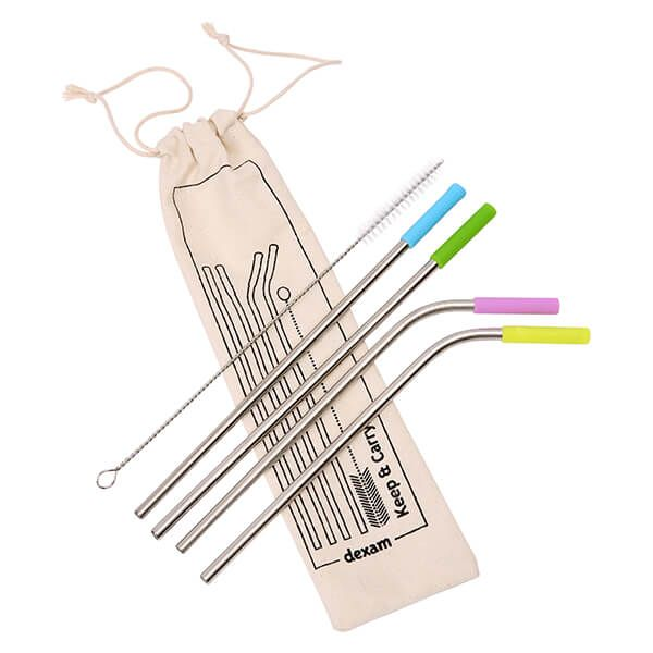 Dexam Set of 4 Stainless Steel Straws with Silicone Tips and Cleaning Brush in Organic Cotton Bag