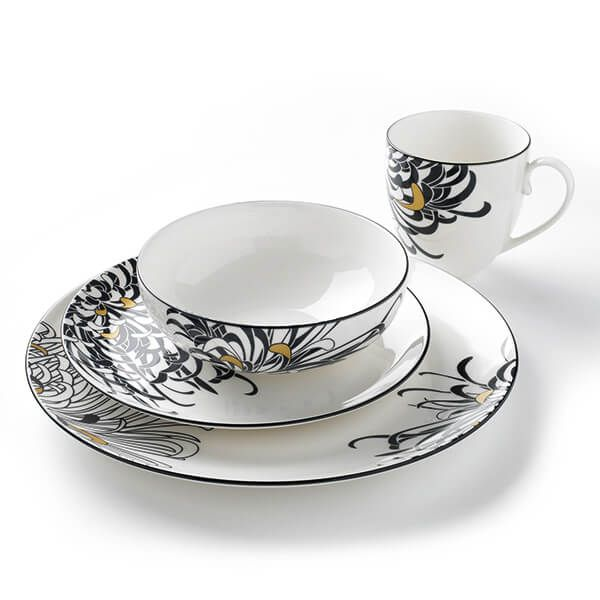 Denby Monsoon Chrysanthemum 16 Piece Tableware Set