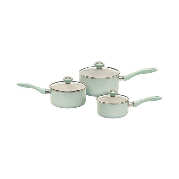 Prestige Pastels Green Non-Stick 3 Piece Induction Saucepan Set