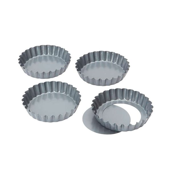 Dexam Bakers Pride Pack Of 4 10cm Non-Stick Loose Base Quiche Tart Pans