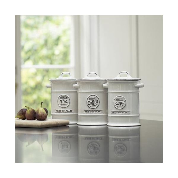 T&G Pride Of Place Set Of 3 Storage Jars In White