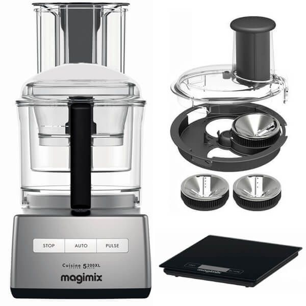 Magimix 5200XL Premium Satin Finish BlenderMix Food Processor with FREE Gifts