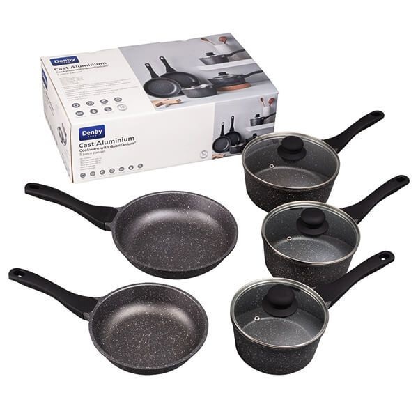 Denby Granite Finish Cast Aluminium 5 Piece Pan Set