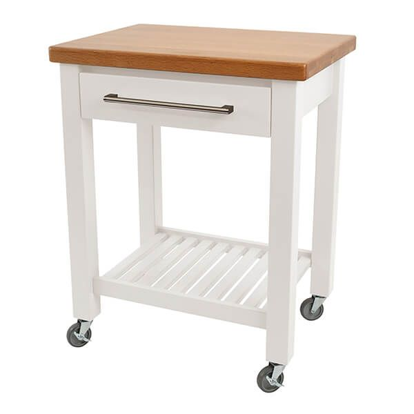 T & G Studio White Hevea With Oak Top Kitchen Trolley Flat Packed