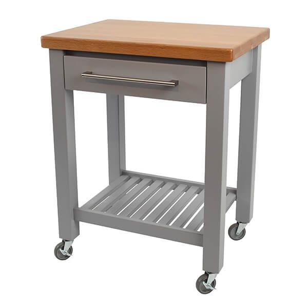 T & G Studio Grey Hevea With Oak Top Kitchen Trolley Flat Packed