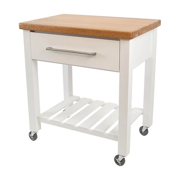 T & G Loft White Hevea With Oak Top Kitchen Trolley Flat Packed