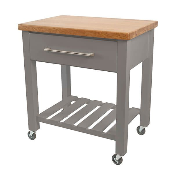 T & G Loft Grey Hevea With Oak Top Kitchen Trolley Flat Packed