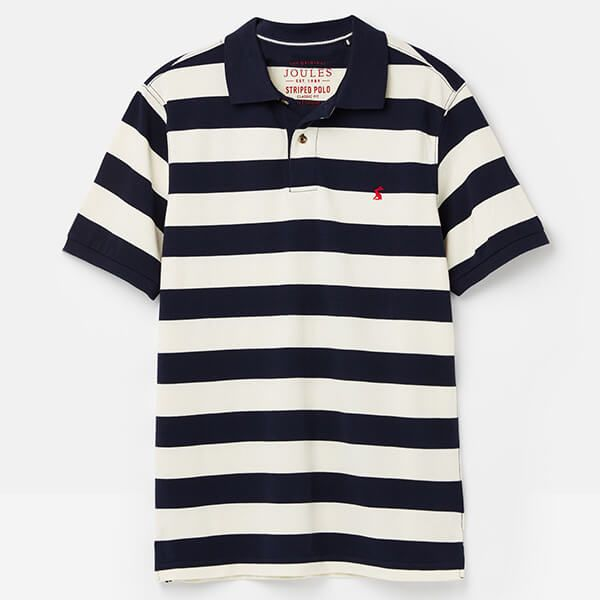 Joules Filbert Navy Cream Stripe Striped Classic Fit Polo