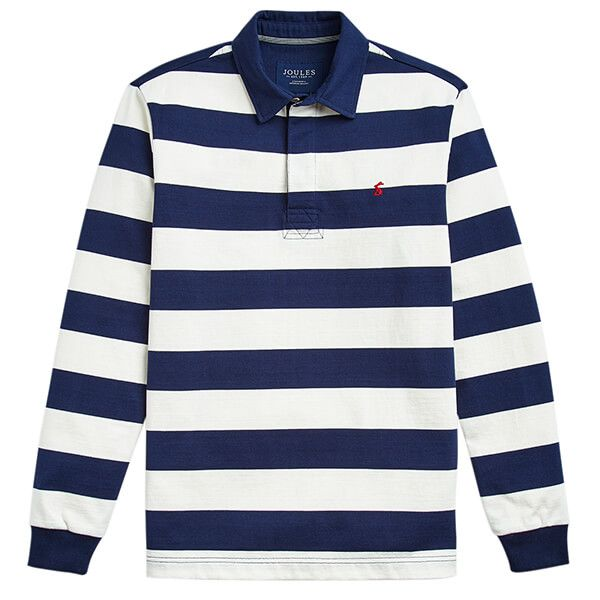 Joules Onside Cream Navy Long Sleeve Stripe Rugby Shirt