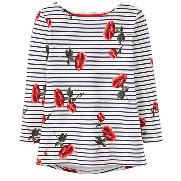 Joules Harbour Print Navy Floral Stripe Printed Jersey Top