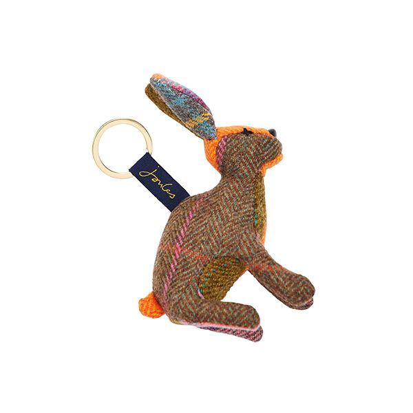 Joules Tweedle Brown Hare Novelty Tweed Keyring