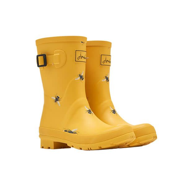 Joules Gold Botanical Bee Molly Mid Height Print Wellies