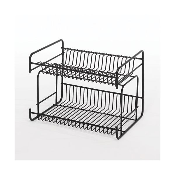 Delfinware Wireware Black 2 Tier Small Plate Rack