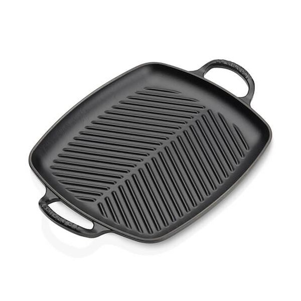 Le Creuset Signature Satin Black Cast Iron 30cm Rectangular Grill