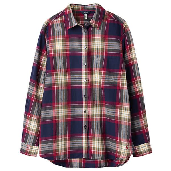 Joules Lorena Berry Check Longline Brushed Woven Shirt
