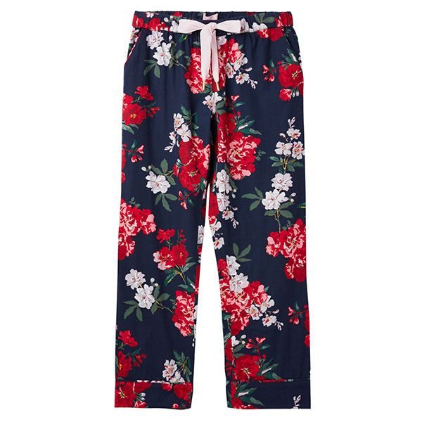 Joules Snooze Navy Floral Woven Pyjama Bottoms