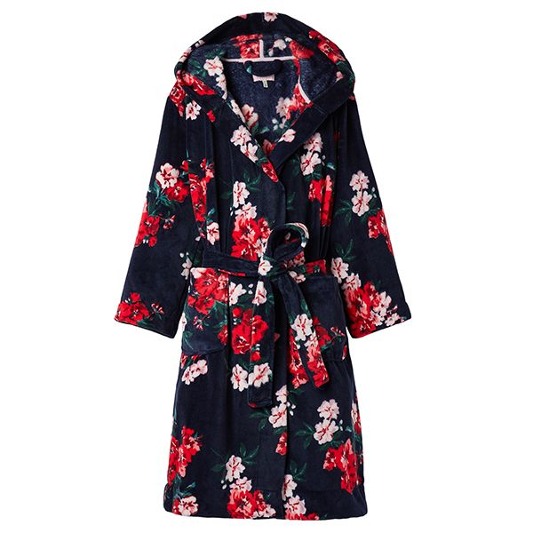 Joules Rita Navy Floral Fluffy Dressing Gown