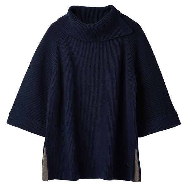 Joules Sarah French Navy Knitted Poncho
