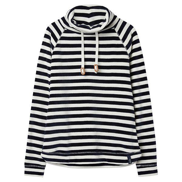 Joules Mayston Cream Navy Stripe Funnel Neck Light Sweatshirt