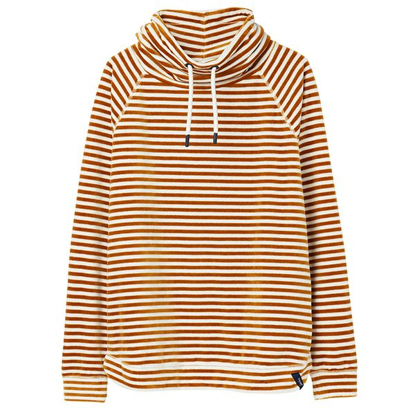 Joules Mayston Cream Gold Stripe Funnel Neck Light Sweatshirt
