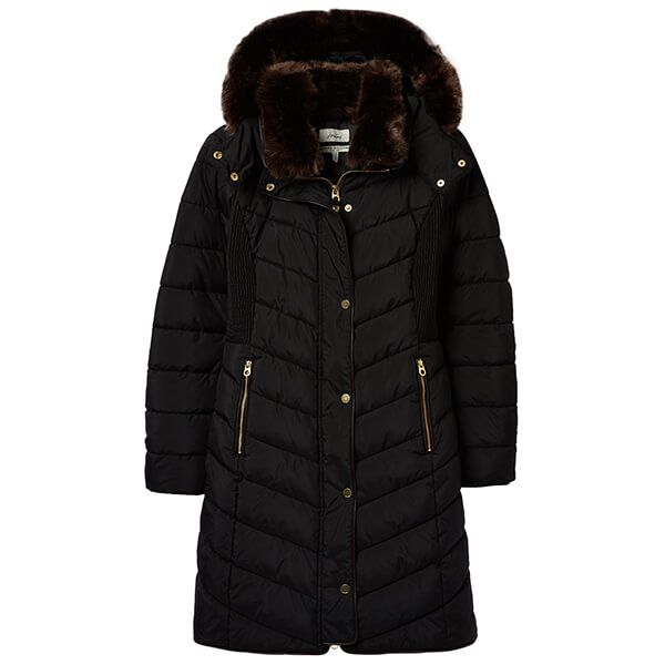 Joules Cherington True Black Chevron Quilted Longline Padded Coat