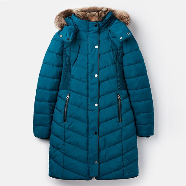 Joules Cherington Dark Teal Chevron Quilted Longline Padded Coat