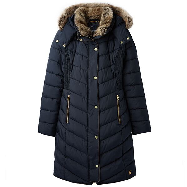 Joules Cherington Marine Navy Chevron Quilted Longline Padded Coat