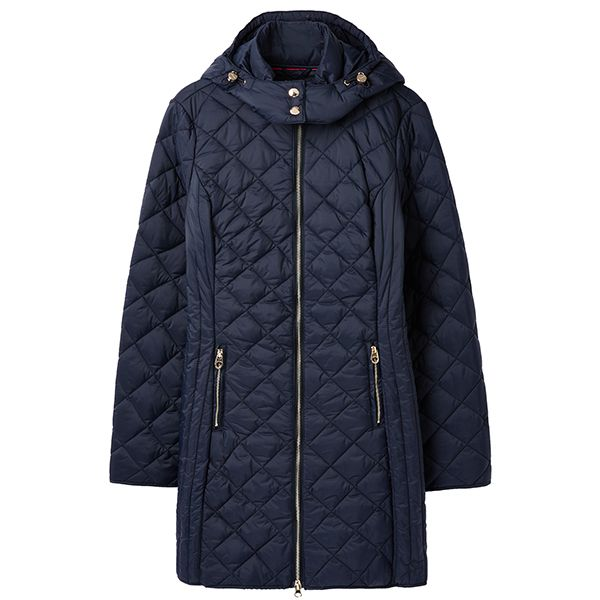 Joules Chatham Marine Navy Longline Diamond Quilted Puffa Jacket