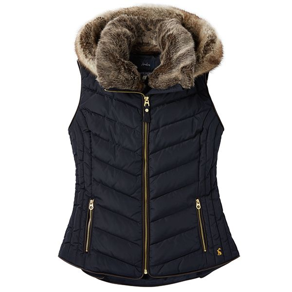 Joules Maybury Marine Navy Chevron Quilt Padded Gilet With Hood