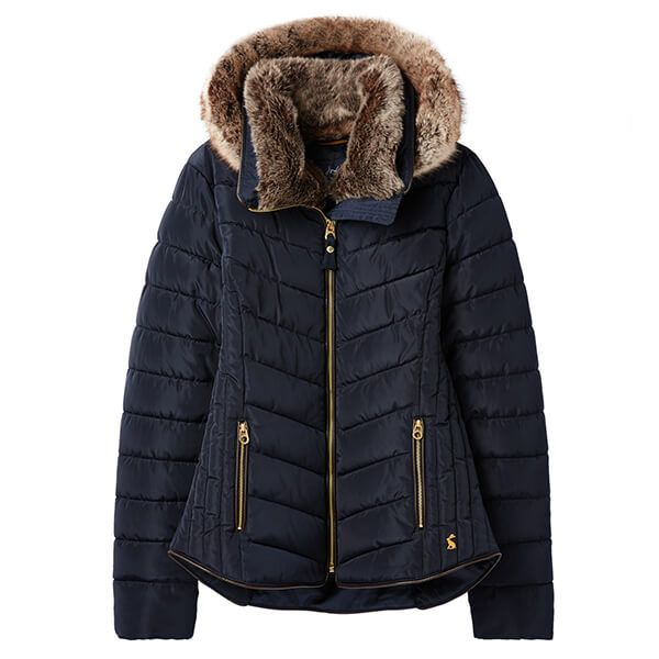 Joules Gosway Marine Navy Chevron Quilt Padded Jacket With Hood