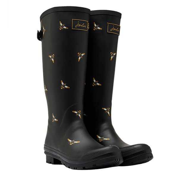 Joules Black Bee Printed Wellies with Adjustable Back Gusset