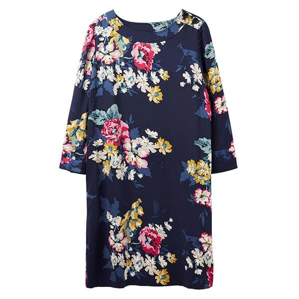 Joules Daisy Anniversary Floral Boat Neck Woven Dress