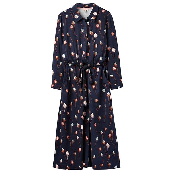 Joules Briony Navy Teasel Long Sleeve Button Front Shirt Dress