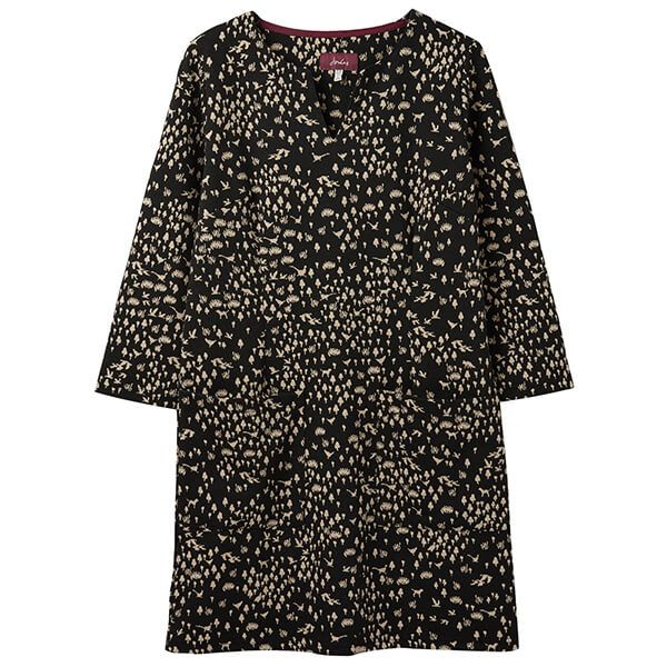 Joules Sawyer Black Animal Long Sleeve Tunic With Pockets