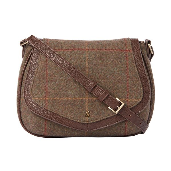 Joules Avebury Brown Tweed Saddle Cross Body