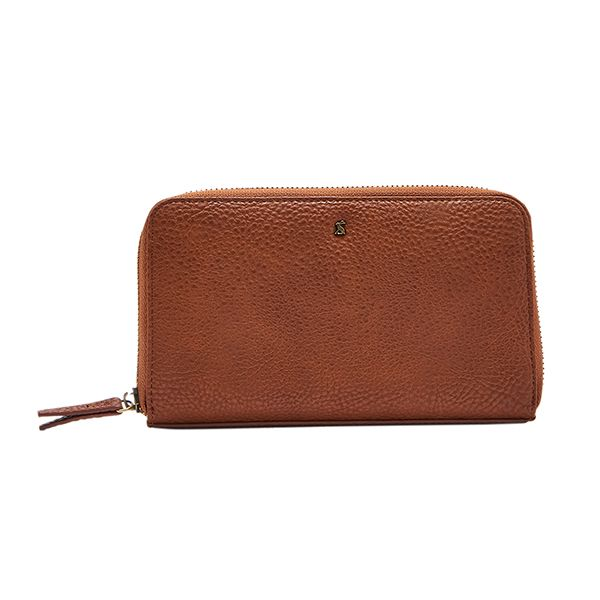 Joules Fairford Bright Faux Leather Tan Zip Round Purse