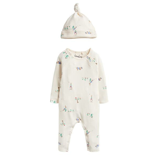 Joules Giggle Supersoft Babygrow And Hat Set