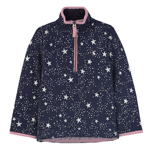 Joules Fairdale Luxe Navy Star Fur Lined Half Zip Sweat