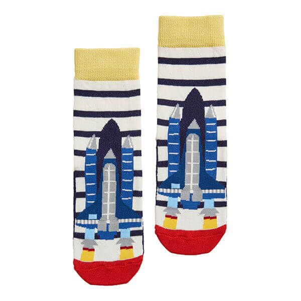 Joules Eat Feet Cream Navy Stripe Rocket Character Socks
